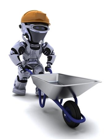 carretilla: Render 3D de un robot Builder con un t�mulo de rueda Foto de archivo