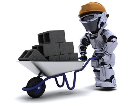 3D render of a robot Builder with a wheel barrow carrying bricks