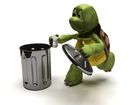 dispose: 3D Render of a Tortoise with a trash can Stock Photo