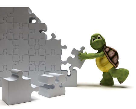 3D Render of a Tortoise with jigsaw puzzle Stock Photo - 9440538