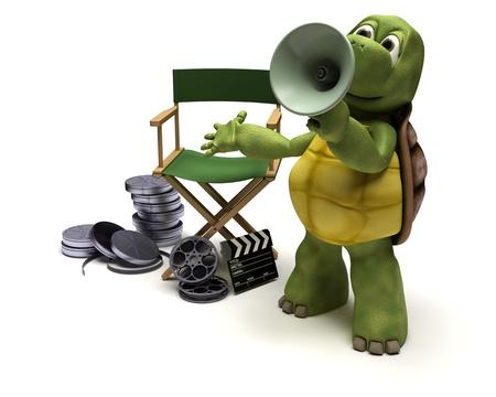 filmregisseur: 3D render of a tortoise film director with a megaphone