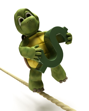 3D Render of a tortoise balancing on a tight rope with a dollar sign Stock Photo - 9440548
