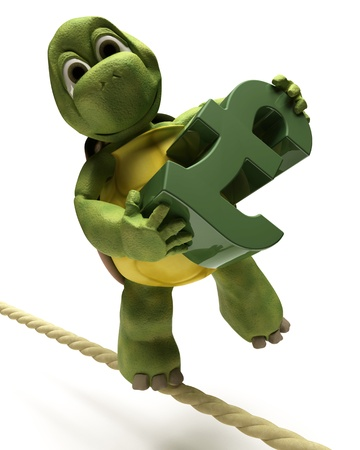 3D Render of a tortoise balancing on a tight rope with a pound sign Stock Photo - 9440560