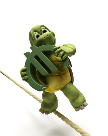 3D Render of a tortoise balancing on a tight rope with a euro sign Stock Photo - 9440541