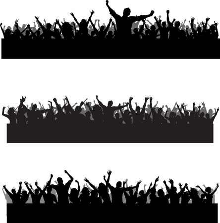 dance party: Collection of three different party crowd silhouettes Stock Photo