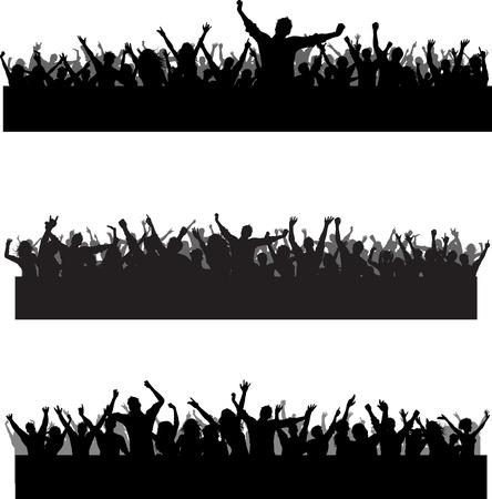 folla: Raccolta di tre sagome di folla partito diverso Archivio Fotografico