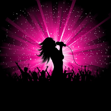 singer silhouette: Silhouette of a female singer performing in front of a cheering audience