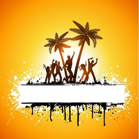 gente bailando: Fondo de árbol de palm de siluetas de personas bailando en un grunge Foto de archivo