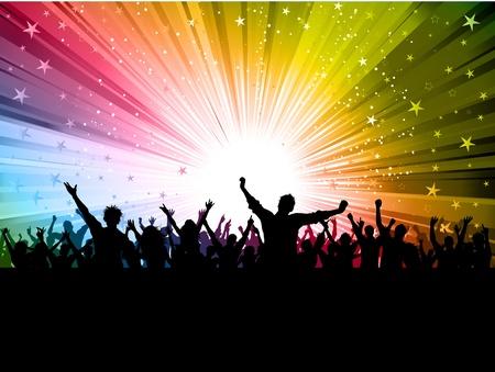Silhouet van een partij menigte op een kleurrijke vuurwerk achtergrond