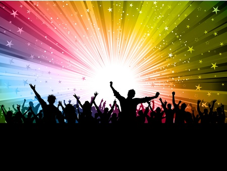 silueta masculina: Silueta de una multitud de partido sobre un fondo de colorido estelar