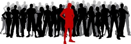 Silhouet van een enorme menigte van mensen met een persoon die permanent uit in het rood Stockfoto