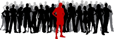 multitud: Silueta de una gran multitud de personas con una persona, destac�ndose en rojo Foto de archivo