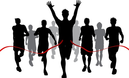 champion: Silhouettes of men racing withone winner reaching the finish Stock Photo