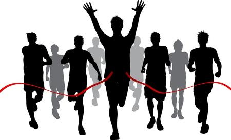 race winner: Silhouettes of men racing withone winner reaching the finish Stock Photo