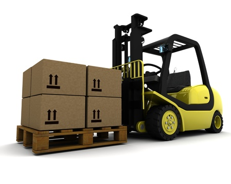 3D Render of Yellow Fork Lift Truck Isolated on White Stock Photo - 9549935