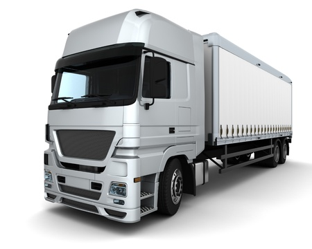 3D Render of a Cargo Delivery Vehicle photo