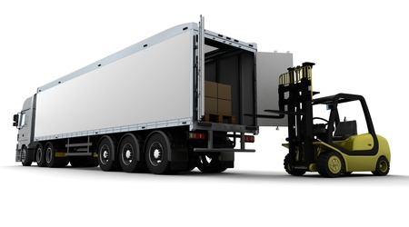 laden: 3D Render von Yellow Fork Lift Truck auf wei�em Hintergrund Lizenzfreie Bilder