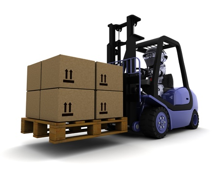 3D Render of Robot Driving a  Lift Truck Stock Photo - 9549944