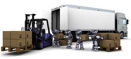 lift truck: Render 3D de Robot conducir una carretilla elevadora