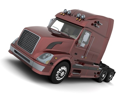 semitruck: 3D render of a white  American semi-truck Stock Photo