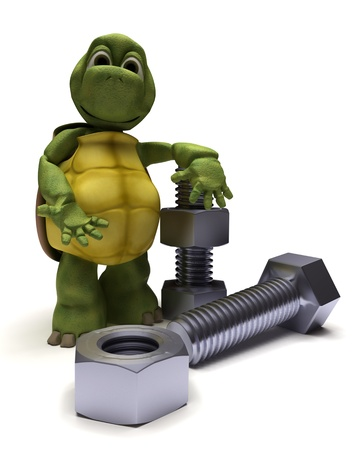 3d  bolt: 3D render of a tortoise with a nut and bolt Stock Photo