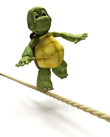 3D Render of Tortoise balancing on a tight rope Stock Photo - 9549945