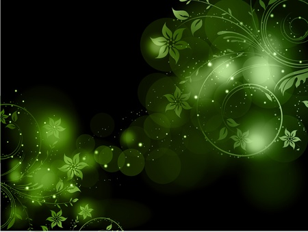 Decorative floral design on a green abstract background Vector