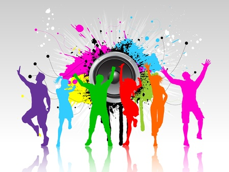 young people party: Colourful silhouettes of people dancing on a grunge speaker background