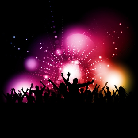 Silhouette of a party audience on a glowing lights background