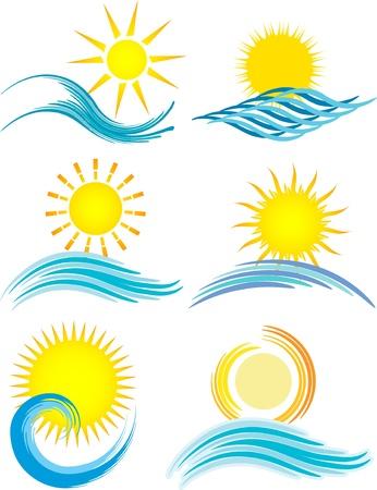 illustrazione sole: Raccolta di sei icone a tema diverso estate