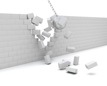 demolishing: 3D Render of a Wrecking ball demolishing a wall