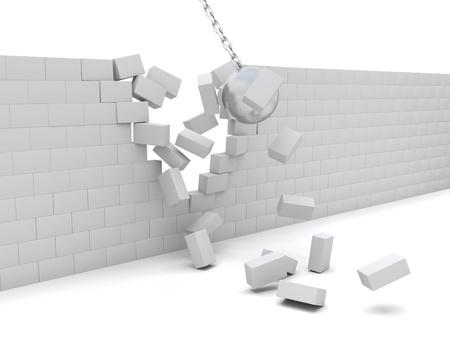 demolish: 3D Render of a Wrecking ball demolishing a wall