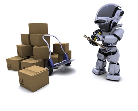 3D render of Robot with Shipping Boxes Stock Photo - 9624980