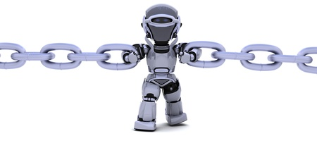 3D render of a robot holding a chain photo
