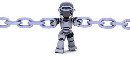 seguridad industrial: Render 3D de un robot con una cadena Foto de archivo