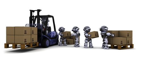 3D Render of Robot Driving a  Lift Truck  Stock Photo - 9624969