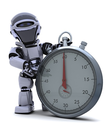 3D render of a Robot with a Traditional chrome stop watch Stock Photo - 9624986