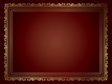 Decorative frame in metallic gold colours photo