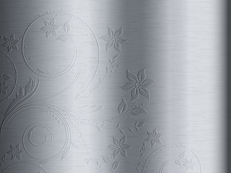 it background: Brushed metal texture background with floral design embossed  on it
