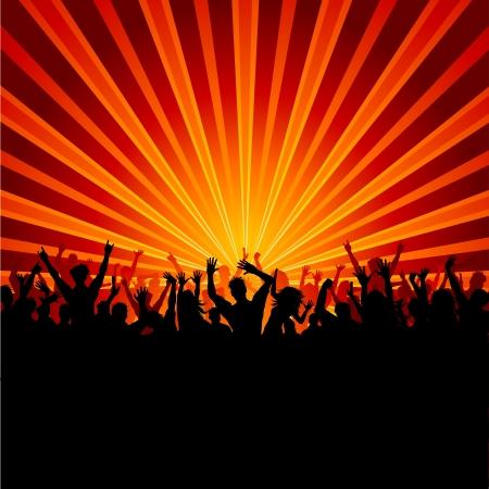 persone che ballano: Silhouette di una folla enorme di persone di partito su uno sfondo di starburst