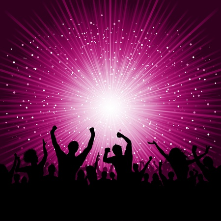 Silhouette of party crowd on a starburst background photo