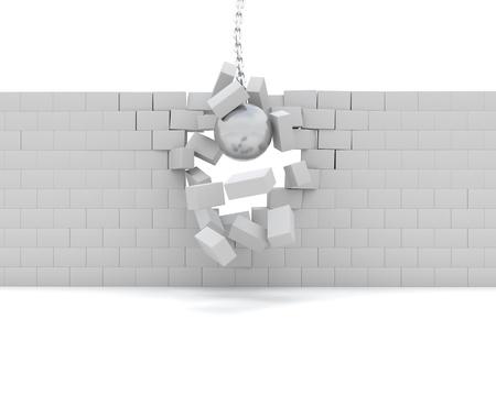 demolition: 3D Render of a Wrecking ball demolishing a wall