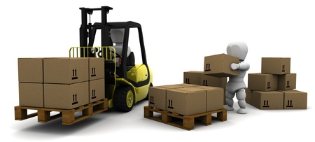 3D Render of Man Driving Fork Lift Truck Isolated on White photo