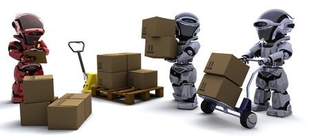 3D render of Robot with Shipping Boxes Stock Photo - 9704866