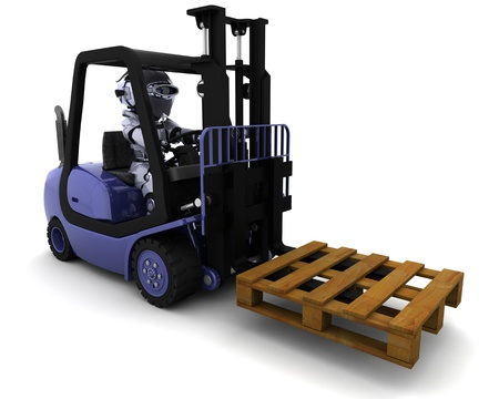 3D Render of Robot Driving a  Lift Truck Stock Photo - 9704847
