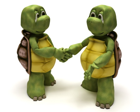 3D render of a Tortoises shaking hands Stock Photo - 9704864