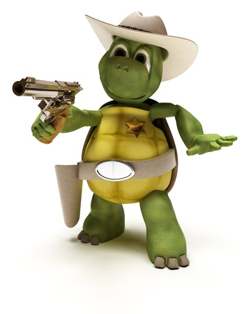 stetson: 3D render of a Cowboy Tortoise with Stetson and pistol
