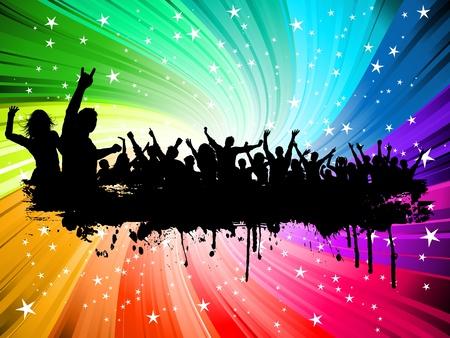 foules: Silhouette d'une foule de style grunge sur un fond starburst Illustration
