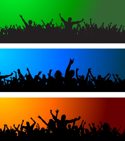 teen silhouette: Collection of three different crowd scenes on colourful backgrounds Illustration