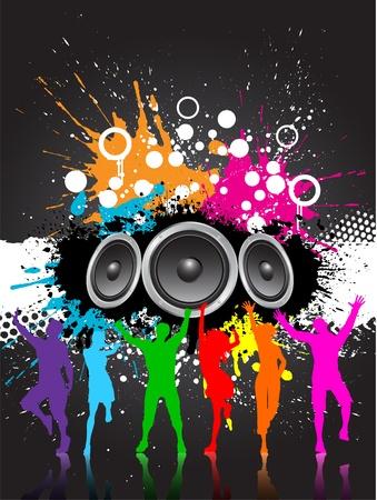 Grunge stijl muziek achtergrond met speakers en kleurrijke silhouetten van mensen aan het dansen